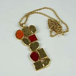 Enamel drop pendant necklace