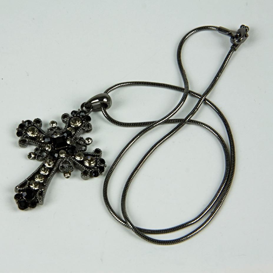Large sparkle crucifix necklace
