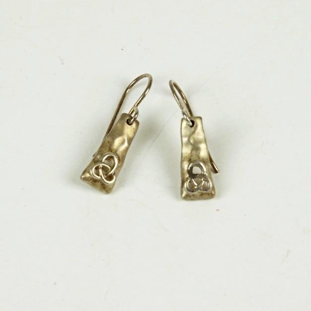 Silver Celtic design drop earrings
