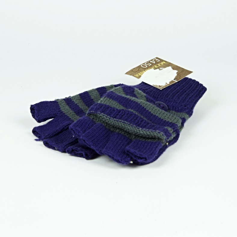 Stripy fingerless mittens