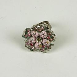 Flower enamel sparkle ring