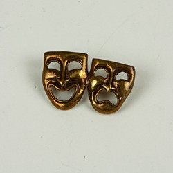 Comedy and tragedy mask brooch