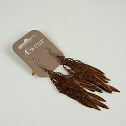Feathered bead drop earrings