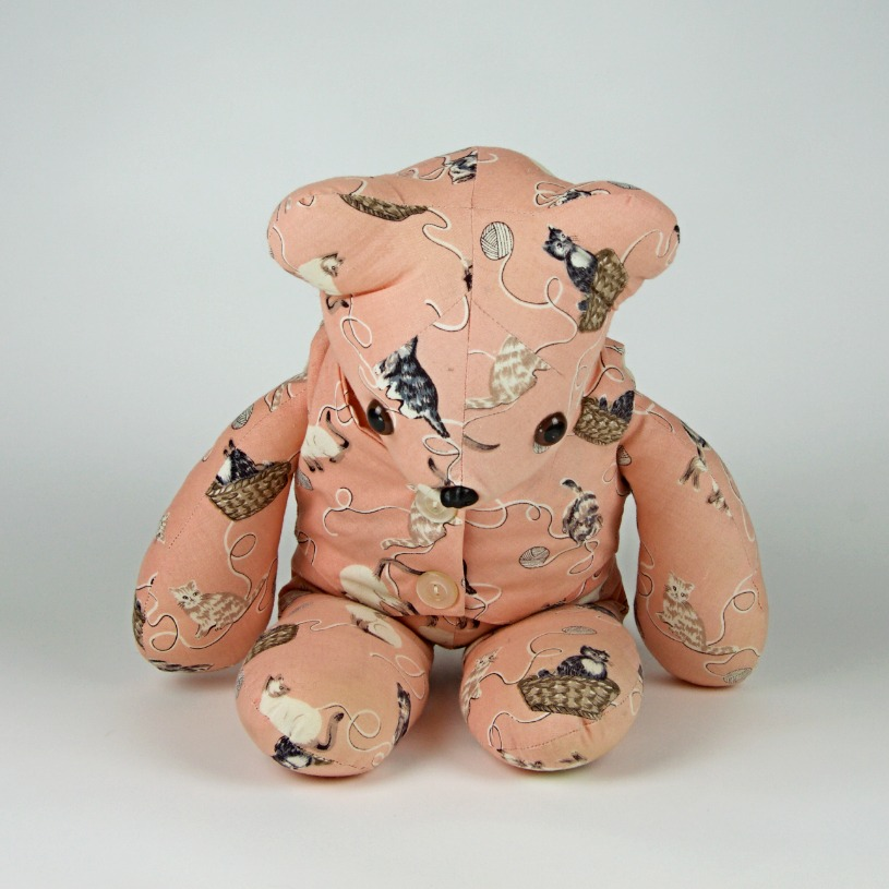 Cat patterned bear soft toy