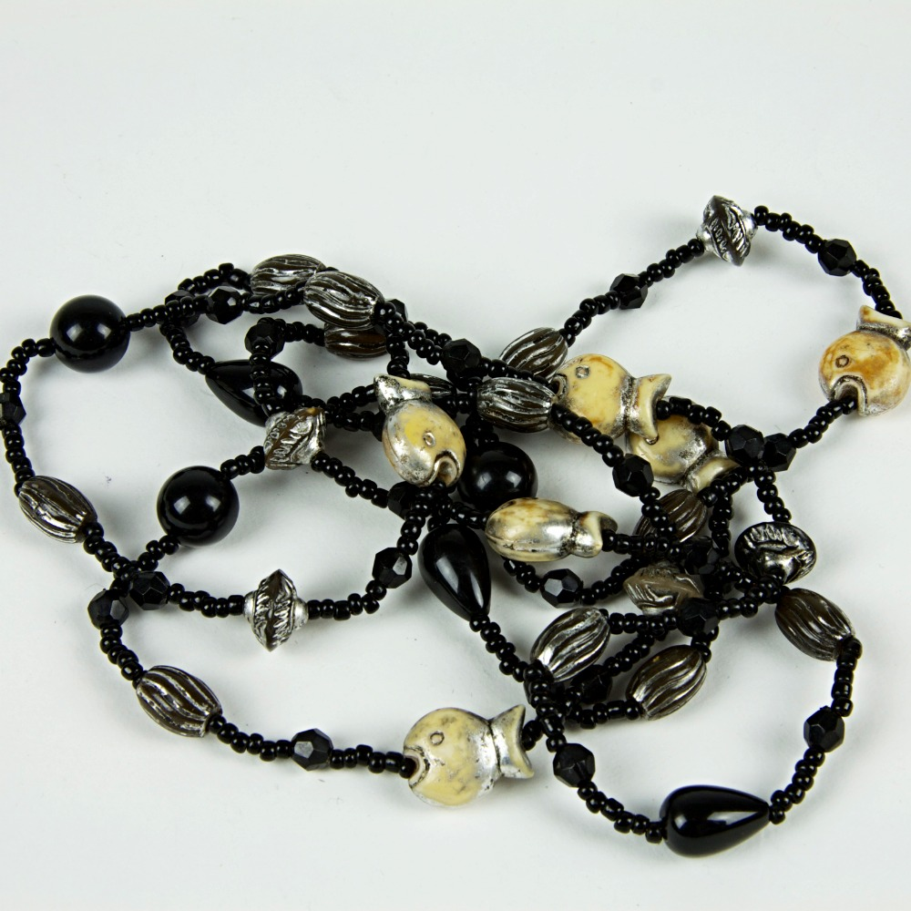 Extra long beaded necklace