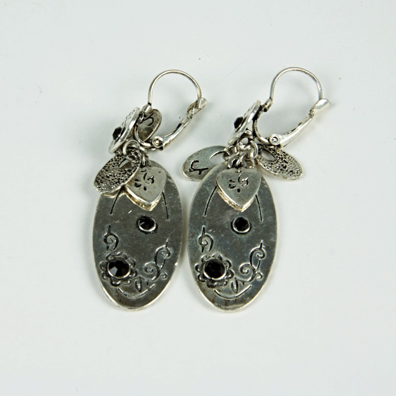 Silver charm drop earrings