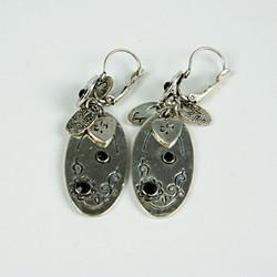 Silver charm drop earrings