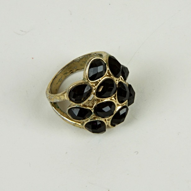 Chunky black stone ring