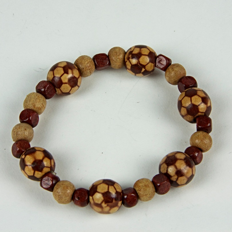 Wooden football beaded bracelet