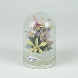 Plastic flowers bell jar ornament