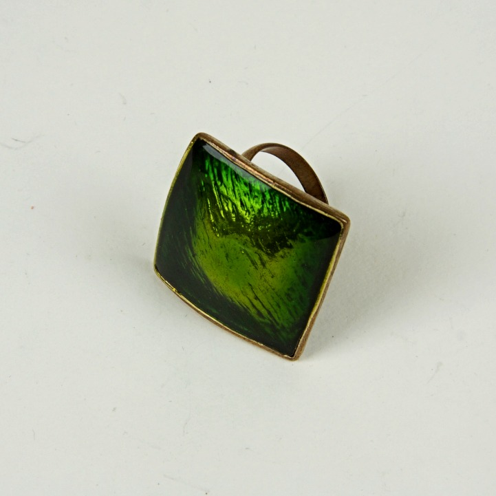 Large enamel jewel ring