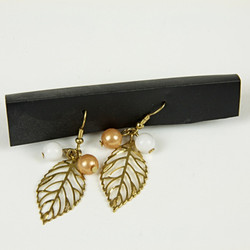Gold leaf and bead earrings