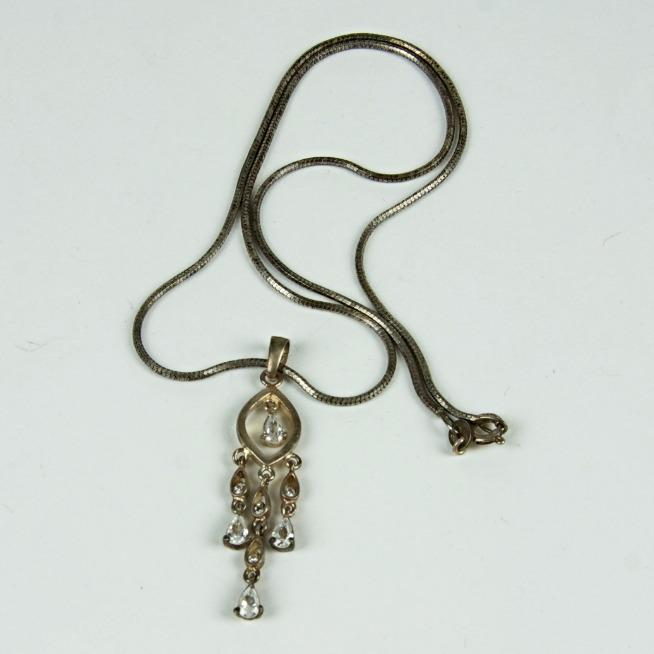 Silver drop bead necklace