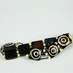 Wooded square beaded bracelet