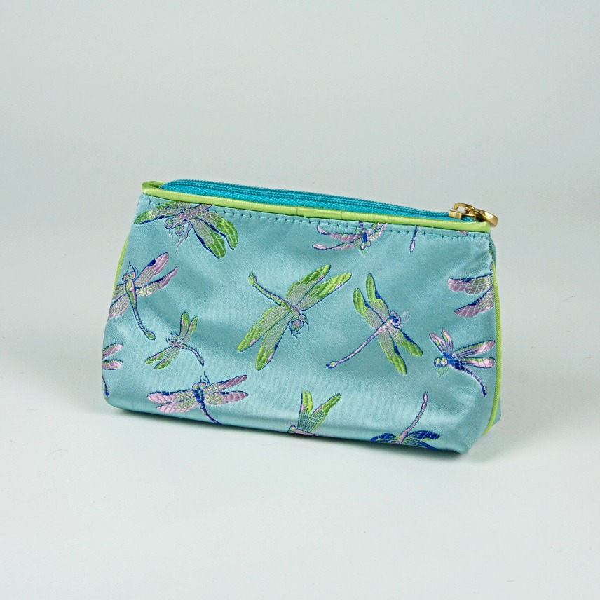 Satin dragonfly cosmetics bag