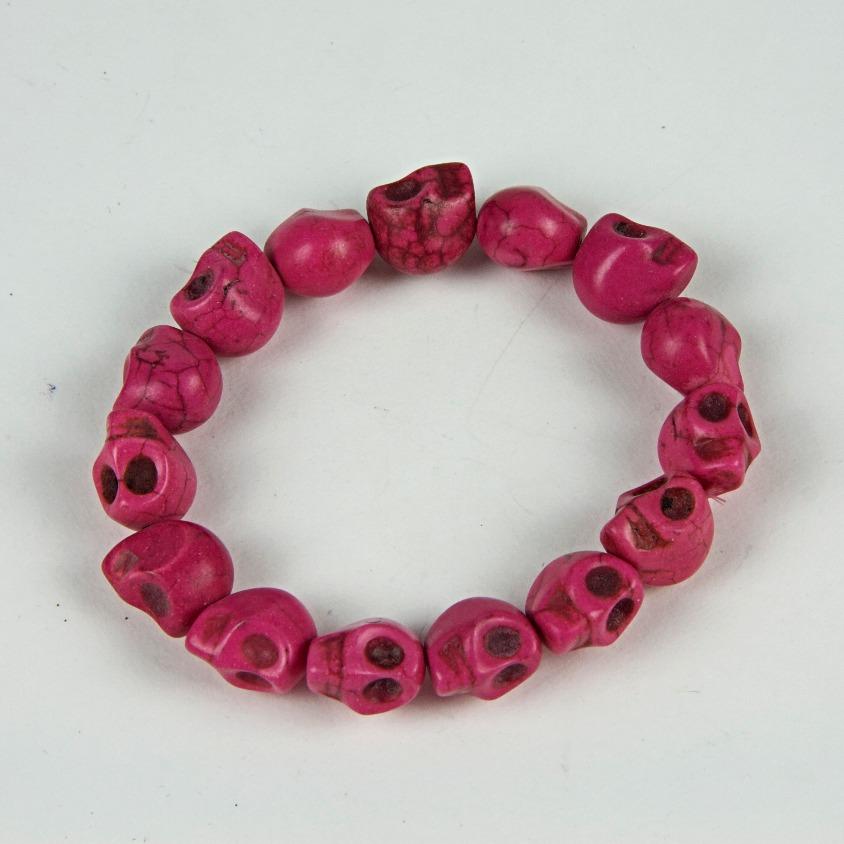 Pink skull beaded bracelet