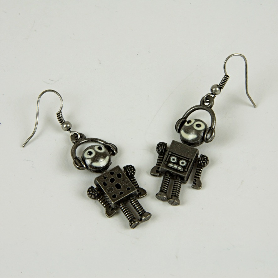 Robot drop earrings
