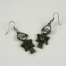 Robot drop earrings