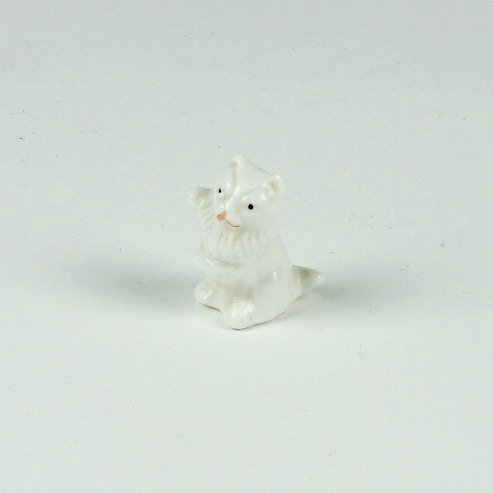 White ceramic mini cat ornament