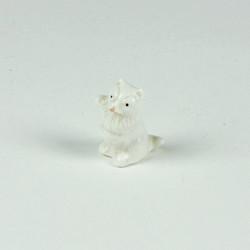 White ceramic mini cat ornament