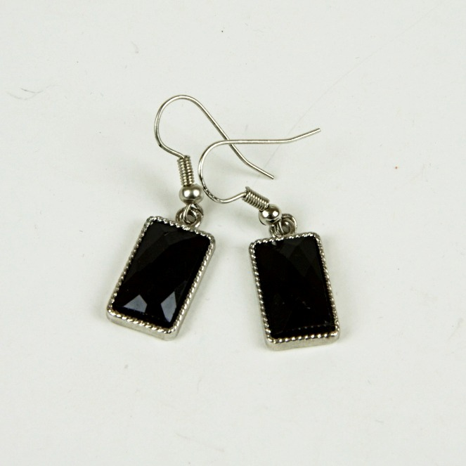 Square bead drop earrings