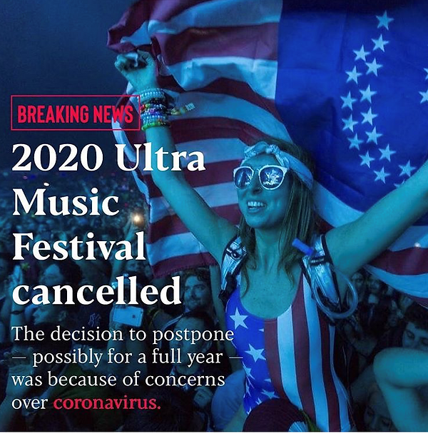 concerts canceled: ultra music festival closed.  image source unconfirmed