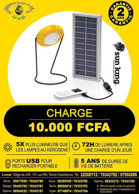 Solar powered lamps. They are useful in places where there is insuficient electricity