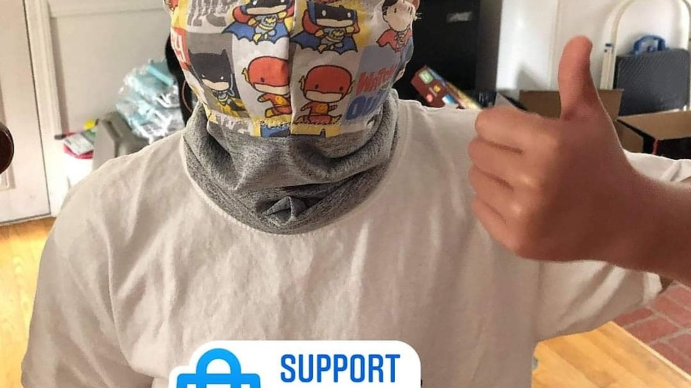 Neck Gaiter Mask Made Any Fabric on Site