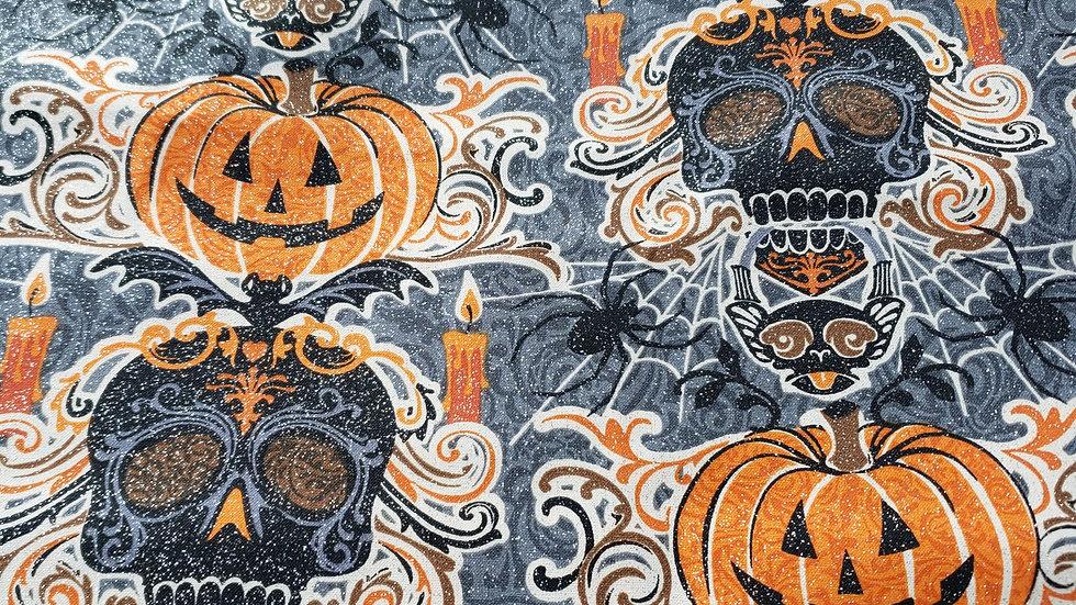 Glitter Skulls & Pumpkins Domino Fitted Mask