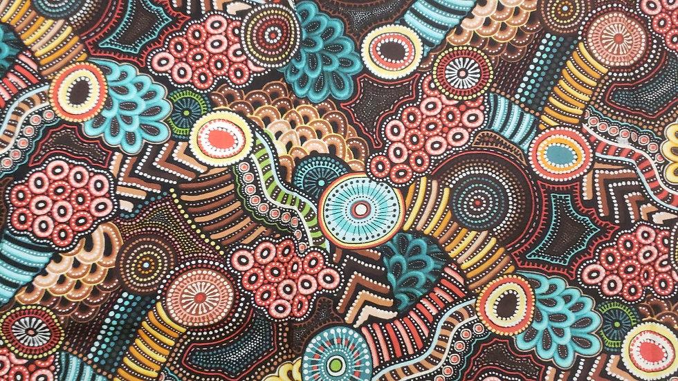 Brown multicolored print