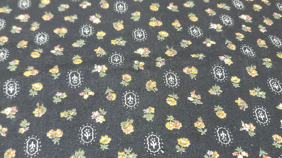 1980 Black Miniature Vintage Floral Print Scrub Caps