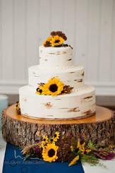 Birch Tree Cake with sunflowers.