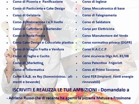 CORSO S.A.B. - CORSO CUCINA E RISTORAZIONE - CORSO PIZZERIA E PANIFICAZIONE IN FASE DI AVVIO