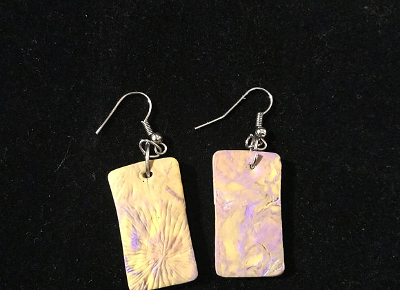 Yellow & Purple Polymer Clay Earrings