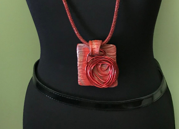 Red Clay & Wire Necklace