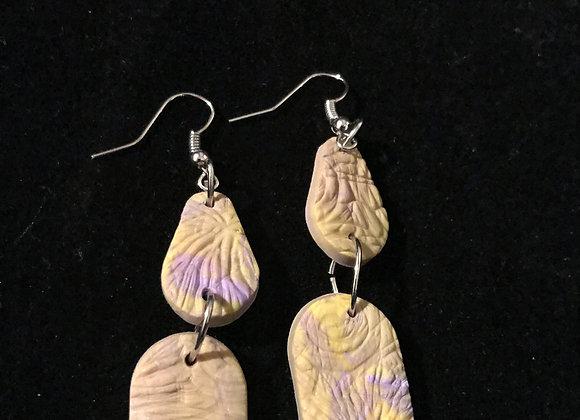 Purple & Yellow Polymer Drop Earrings