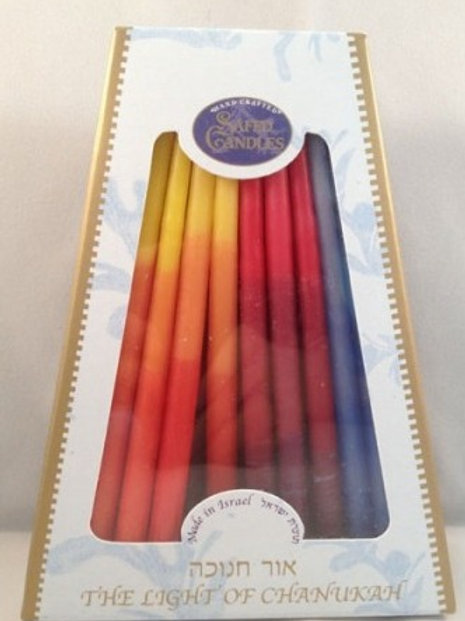 MULTICOLOR CHANUKAH CANDLES MADE IN ISRAEL