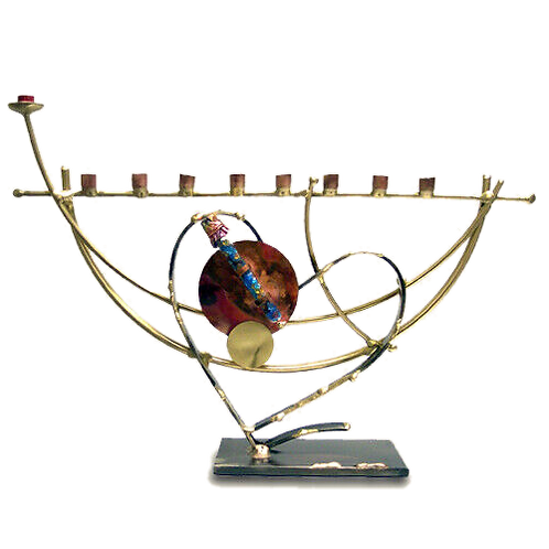 GARY ROSENTHAL SCULPTURAL WEDDING HEART MENORAH
