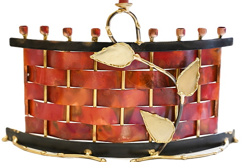 GARY ROSENTHAL UNIQUE COPPER/BRASS MENORAH (IN STOCK)