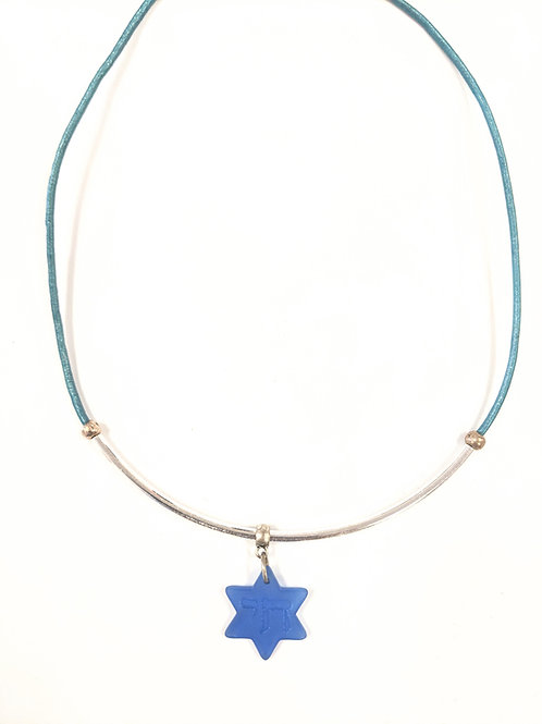 CULTURED GLASS STAR OF DAVID NECKLACE