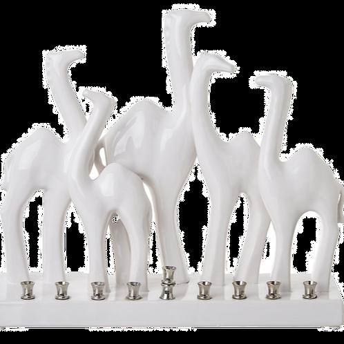 CAMEL FAMILY CERAMIC MENORAH
