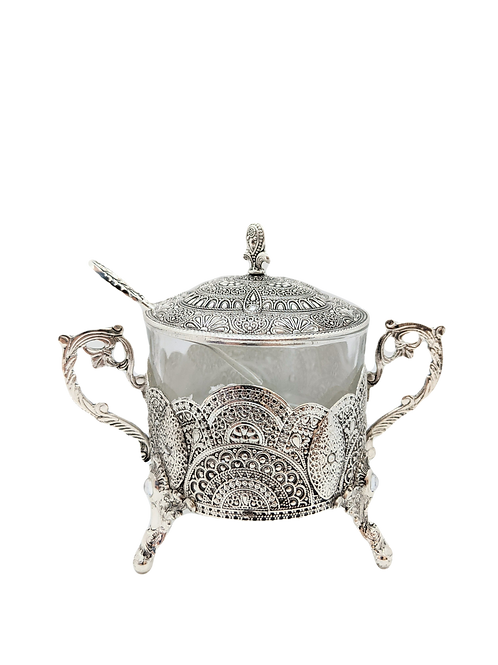 SILVER AND GLASS JAR