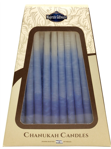 WHITE AND BLUE CHANUKAH CANDLES MADE IN ISRAEL