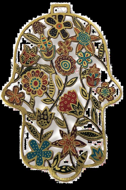 YAIR EMANUEL HAND PAINTED FLOWER HAMSA