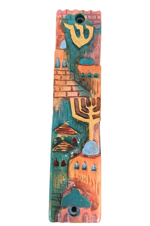 AVIGDOR BEZALEL HAND PAINTED AND HAND CARVED MEZUZAH