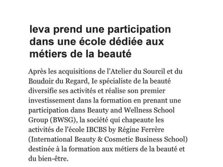 Beauty and Wellness School Group : nouvel article