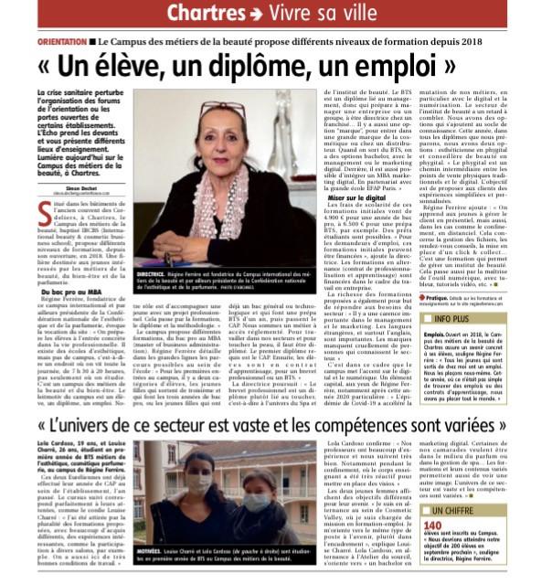 Interview de Mme Ferrère pour l'Echo Républicain, paru le 11 janvier 2021.https://www.lechorepublicain.fr/chartres-28000/actualites/regine-ferrere-fondatrice-du-campus-des-metiers-de-la-beaute-a-chartres-un-eleve-un-diplome-un-emploi_13900692/#refresh
