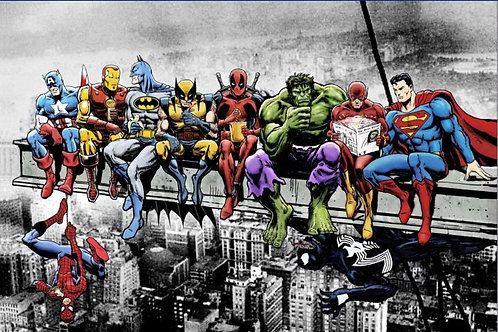 Superheroes Lunch on a Skyscraper (Poster)