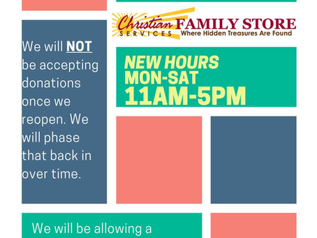 Family Store ReOpening May 9th!