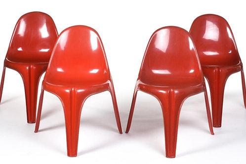 1965. Set 4 chairs Walter Frey
